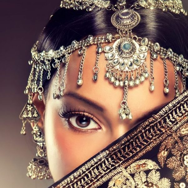 Beautiful Indian women portrait with jewelry. elegant Indian girl , bollywood style .  Indian jewelry with  dark skin model . Beautiful brunette asian girl with black veil on face